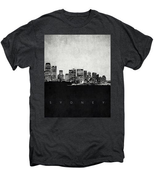 Sydney City Skyline With Opera House Men's Premium T-Shirt by World Art Prints And Designs