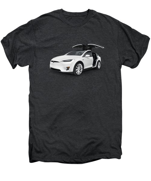 Tesla Model X Luxury Suv Electric Car With Open Falcon-wing Doors Art Photo Print Men's Premium T-Shirt by Oleksiy Maksymenko