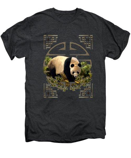 The Panda Bear And The Great Wall Of China Men's Premium T-Shirt by Regina Femrite