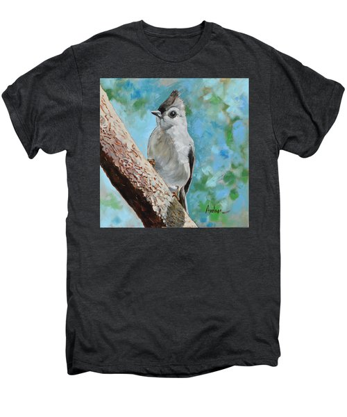 Tufted Titmouse #1 Men's Premium T-Shirt by Amber Foote
