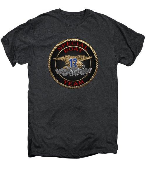 U. S. Navy S W C C - Special Boat Team 12   -  S B T 12  Patch Over Black Velvet Men's Premium T-Shirt by Serge Averbukh