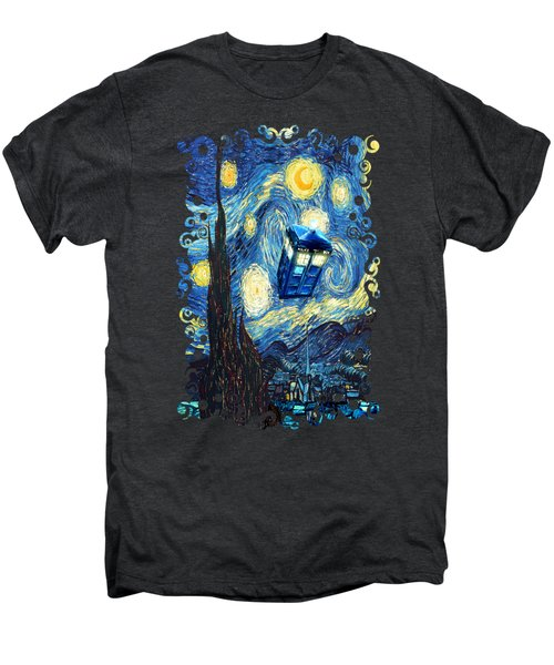 Weird Flying Phone Booth Starry The Night Men's Premium T-Shirt by Three Second