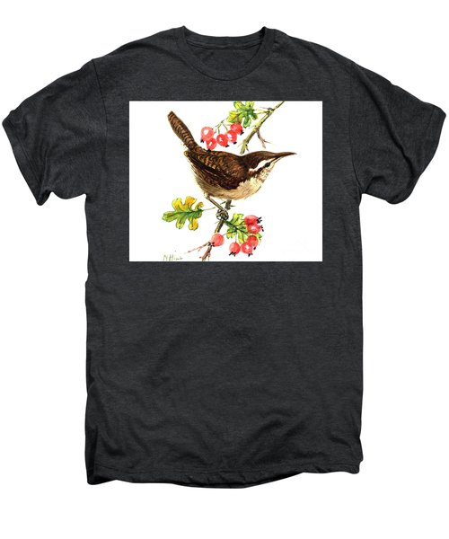 Wren And Rosehips Men's Premium T-Shirt by Nell Hill