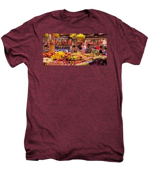 Fruits At Market Stalls, La Boqueria Men's Premium T-Shirt by Panoramic Images