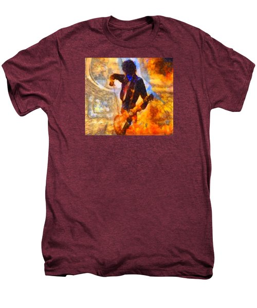 Jimmy Page Playing Guitar With Bow Men's Premium T-Shirt by Dan Sproul