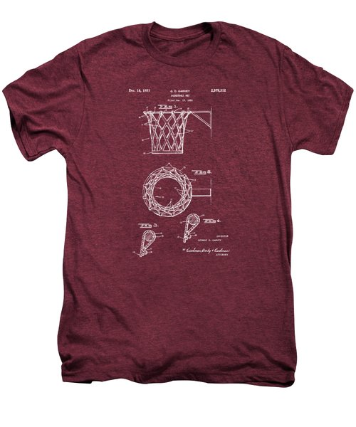 1951 Basketball Net Patent Artwork - Red Men's Premium T-Shirt by Nikki Marie Smith