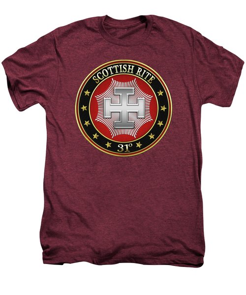 31st Degree - Inspector Inquisitor Jewel On Red Leather Men's Premium T-Shirt by Serge Averbukh