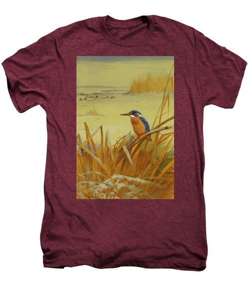 A Kingfisher Amongst Reeds In Winter Men's Premium T-Shirt by Archibald Thorburn