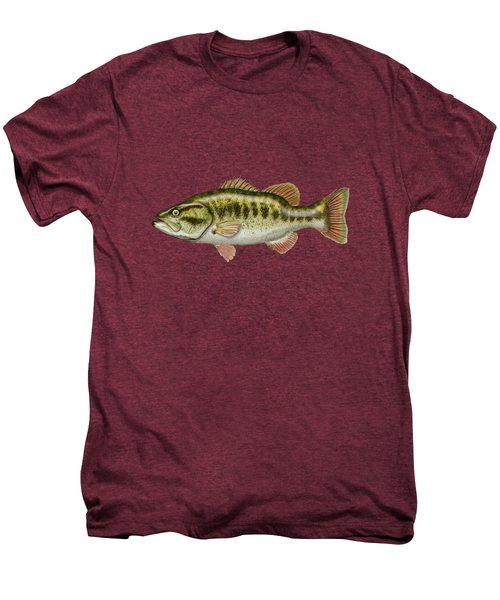 Largemouth Bass On Red Leather Men's Premium T-Shirt by Serge Averbukh