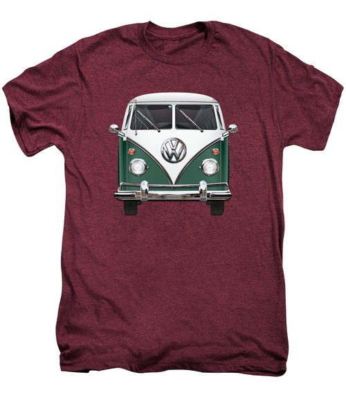 Volkswagen Type 2 - Green And White Volkswagen T 1 Samba Bus Over Red Canvas  Men's Premium T-Shirt by Serge Averbukh