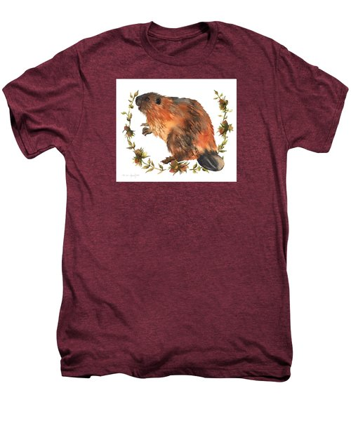 Beaver Painting Men's Premium T-Shirt by Alison Fennell