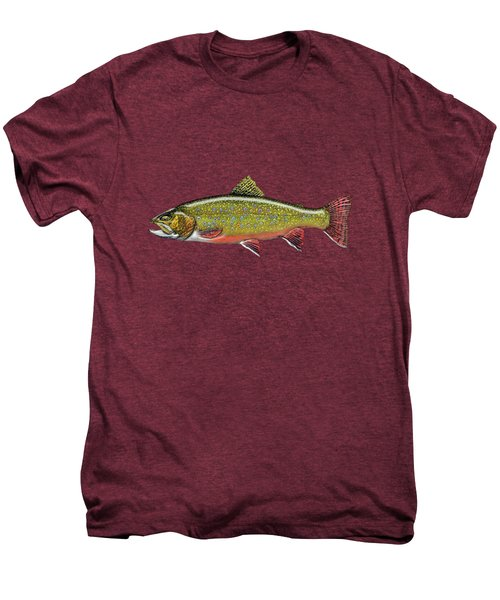Brook Trout On Red Leather Men's Premium T-Shirt by Serge Averbukh