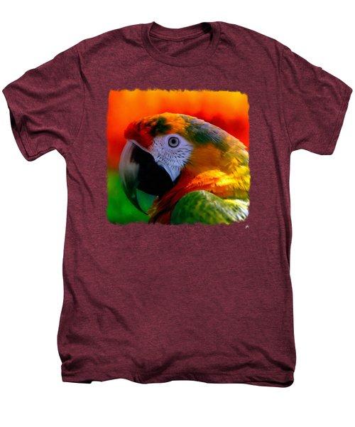 Colorful Macaw Parrot Men's Premium T-Shirt by Linda Koelbel