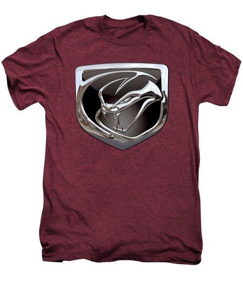 Dodge Viper - 3d Badge On Red Men's Premium T-Shirt by Serge Averbukh