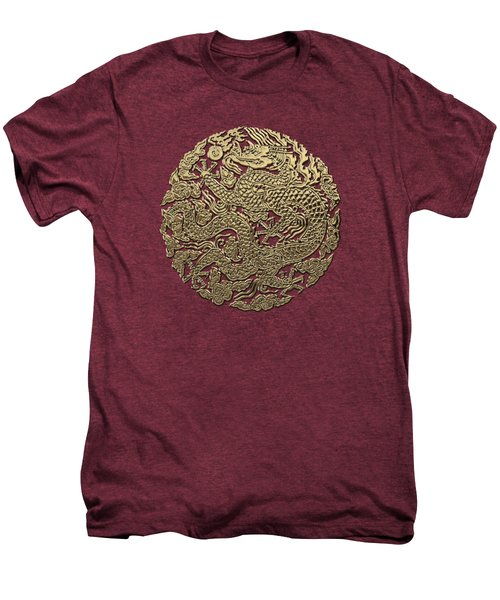 Golden Chinese Dragon On Red Leather Men's Premium T-Shirt by Serge Averbukh