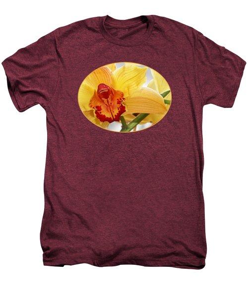 Golden Cymbidium Orchid Men's Premium T-Shirt by Gill Billington