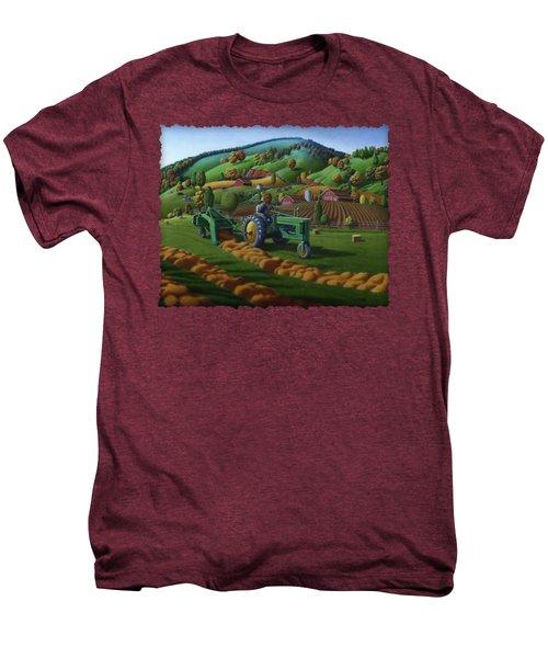 John Deere Tractor Baling Hay Farm Folk Art Landscape - Vintage - Americana Decor -  Painting Men's Premium T-Shirt by Walt Curlee