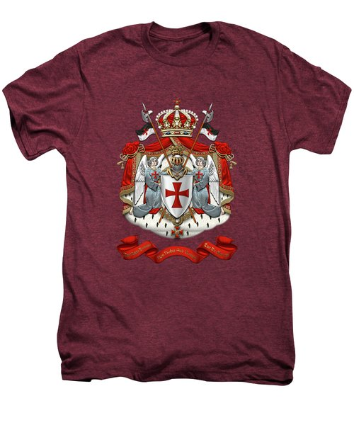 Knights Templar - Coat Of Arms Over Red Velvet Men's Premium T-Shirt by Serge Averbukh