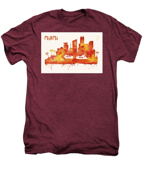 Miami Skyline Watercolor Poster - Cityscape Painting Artwork Men's Premium T-Shirt by Beautify My Walls