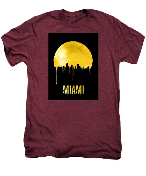Miami Skyline Yellow Men's Premium T-Shirt by Naxart Studio