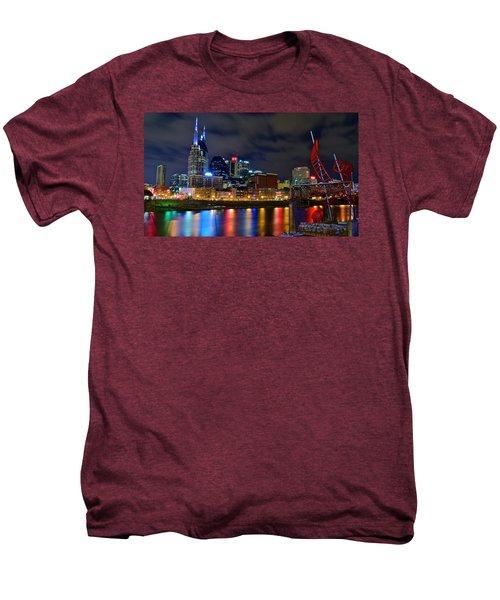 Nashville After Dark Men's Premium T-Shirt by Frozen in Time Fine Art Photography