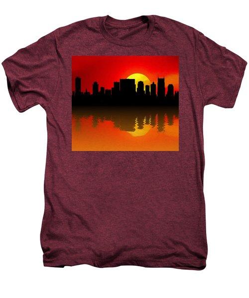 Nashville Skyline Sunset Reflection Men's Premium T-Shirt by Dan Sproul