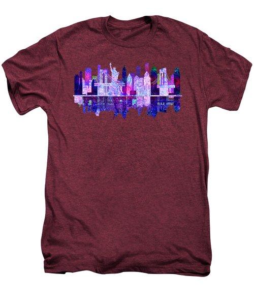 New York Skyline Red Men's Premium T-Shirt by John Groves