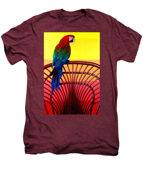 Parrot Sitting On Chair Men's Premium T-Shirt by Garry Gay