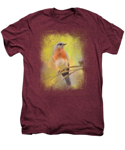 Spring Bluebird Painting Men's Premium T-Shirt by Jai Johnson