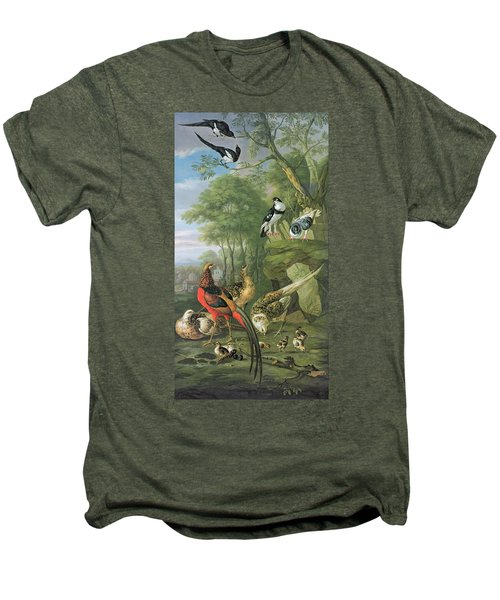 Cock Pheasant Hen Pheasant And Chicks And Other Birds In A Classical Landscape Men's Premium T-Shirt by Pieter Casteels