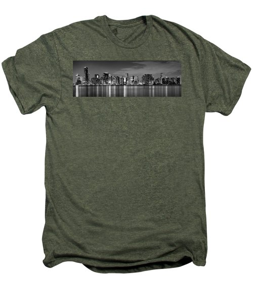 Miami Skyline At Dusk Black And White Bw Panorama Men's Premium T-Shirt by Jon Holiday