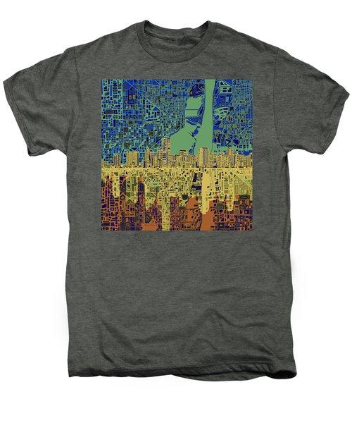 Miami Skyline Abstract 7 Men's Premium T-Shirt by Bekim Art