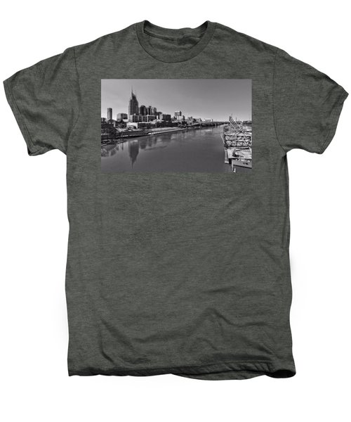 Nashville Skyline In Black And White At Day Men's Premium T-Shirt by Dan Sproul