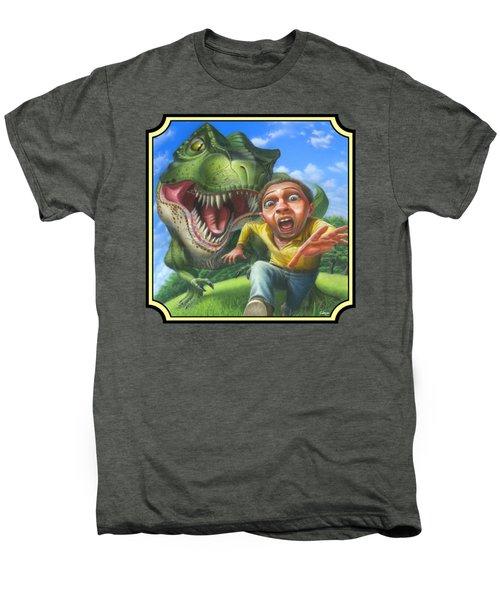 Tyrannosaurus Rex Jurassic Park Dinosaur - T Rex - T Rex - Extinct Predator - Square Format Men's Premium T-Shirt by Walt Curlee