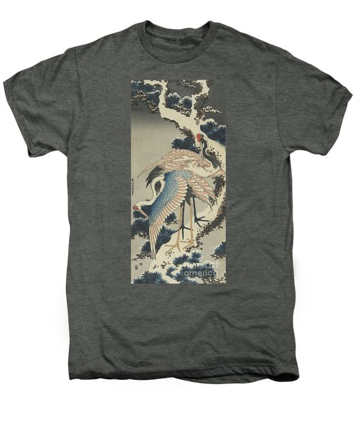 Cranes On Pine Men's Premium T-Shirt by Hokusai