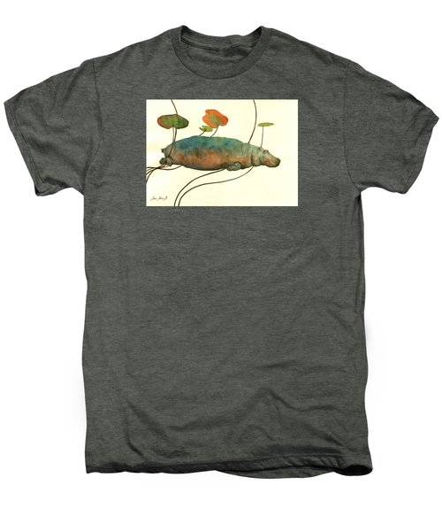 Hippo Swimming With Water Lilies Men's Premium T-Shirt by Juan  Bosco