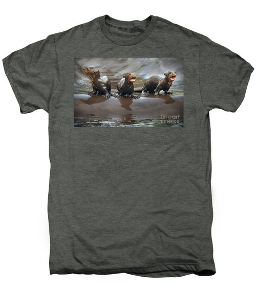 Otter Pup Triplets Men's Premium T-Shirt by Jamie Pham