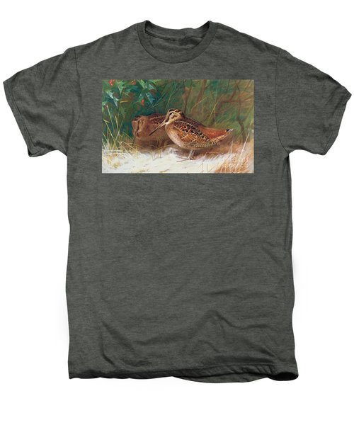 Woodcock In The Undergrowth Men's Premium T-Shirt by Archibald Thorburn