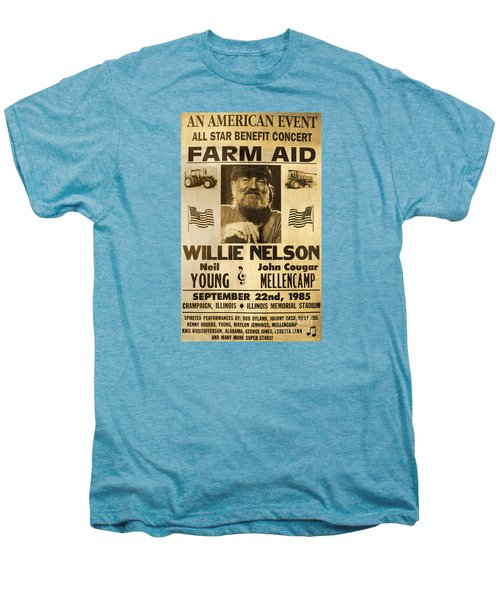 Vintage Willie Nelson 1985 Farm Aid Poster Men's Premium T-Shirt by John Stephens