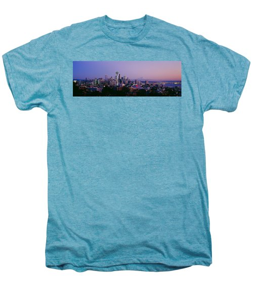 High Angle View Of A City At Sunrise Men's Premium T-Shirt by Panoramic Images