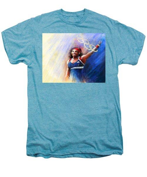 2012 Tennis Olympics Gold Medal Serena Williams Men's Premium T-Shirt by Miki De Goodaboom