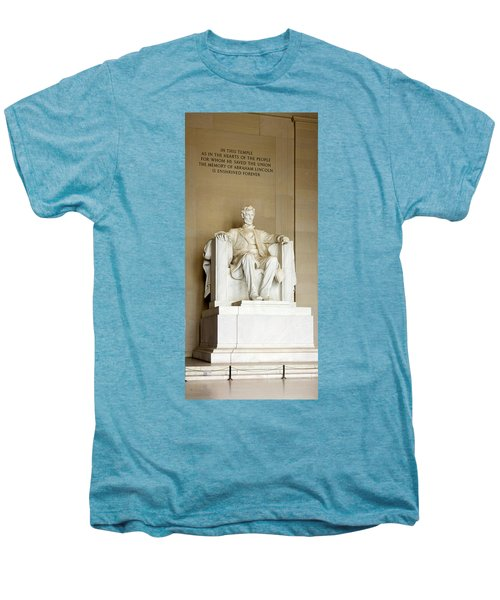 Abraham Lincolns Statue In A Memorial Men's Premium T-Shirt by Panoramic Images