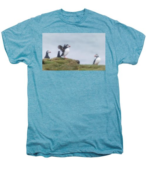 Atlantic Puffins Fratercula Arctica Men's Premium T-Shirt by Panoramic Images