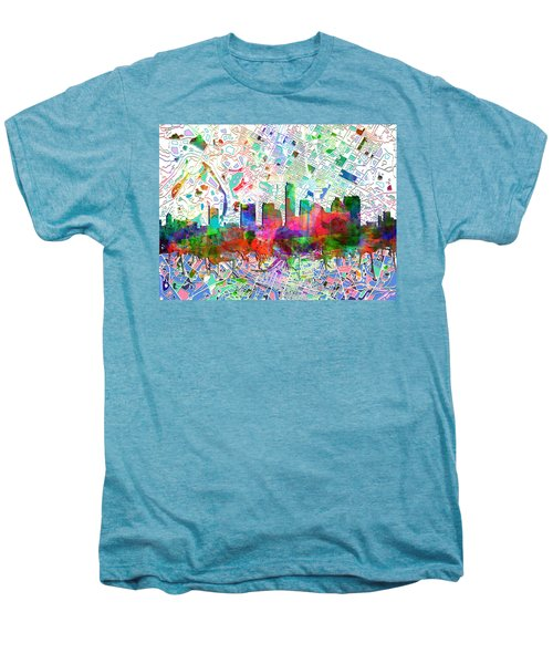 Austin Texas Abstract Panorama 7 Men's Premium T-Shirt by Bekim Art