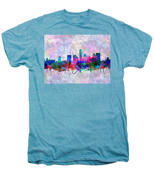 Austin Texas Skyline Watercolor 2 Men's Premium T-Shirt by Bekim Art