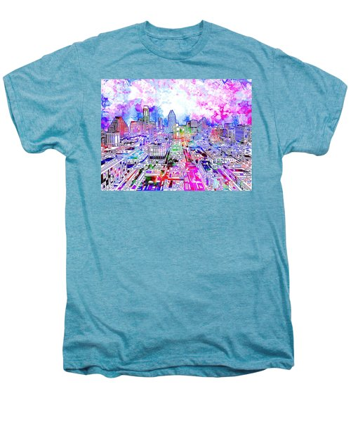 Austin Texas Watercolor Panorama Men's Premium T-Shirt by Bekim Art