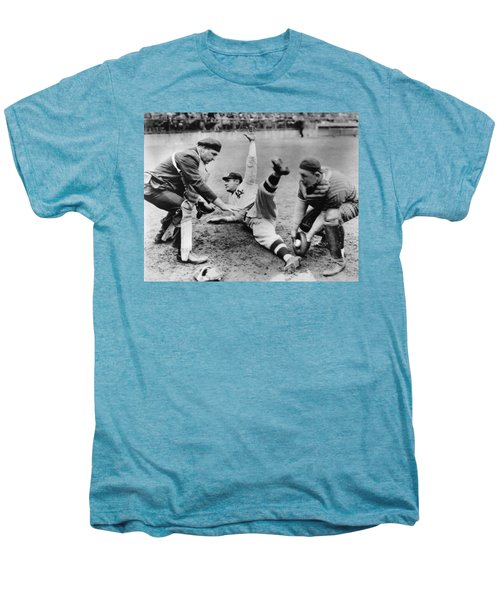 Babe Ruth Slides Home Men's Premium T-Shirt by Underwood Archives