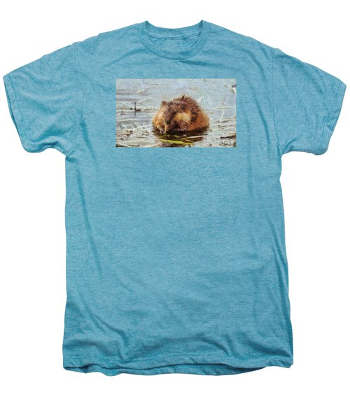 Beaver Portrait On Canvas Men's Premium T-Shirt by Dan Sproul