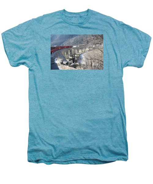 Men's Premium T-Shirt featuring the photograph Bernina Express In Winter by Travel Pics