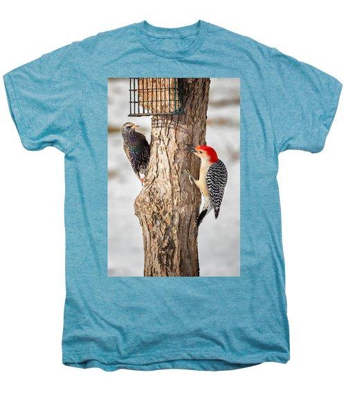 Bird Feeder Stand Off Men's Premium T-Shirt by Bill Wakeley